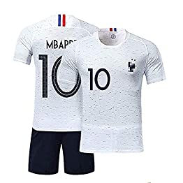 LSY Maillots De Football Enfant Sport Garçon L'équipe France Soccer Jersey 2018 Coupe du Monde France 2 Étoiles Football T-Shirt Et Short,WhiteN10,XS