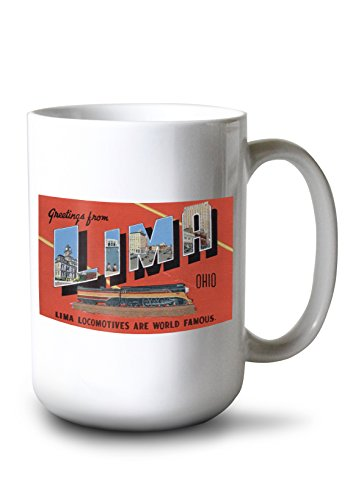 Lima, Ohio - Large Letters - Lima Locomotives are World Famous (15oz White Ceramic Mug) ()