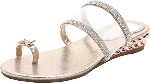 Abby Kvinna Komfort Platt Sommaren Halkfri Flip-flops Rem Mesh Sandal Guld