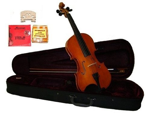 GRACE 11 inch Natural Student Viola with Case, Bow+2 Sets Strings+2 Bridges+Pitch Pipe+Rosin by Grace