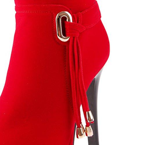 AllhqFashion Mujeres Sin cordones Puntera Redonda Tacón de aguja Caña Baja Botas con Metal Rojo