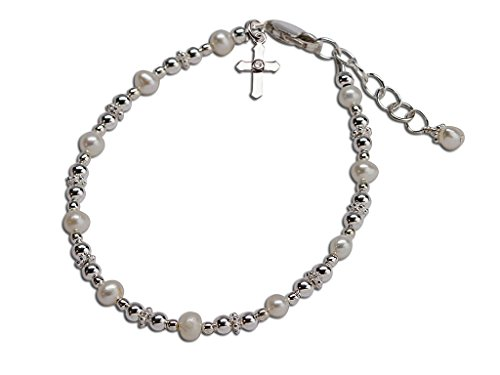 Children's Sterling Silver Baptism and First Communion Cross Bracelet with Cultured Pearls by Precious Pieces