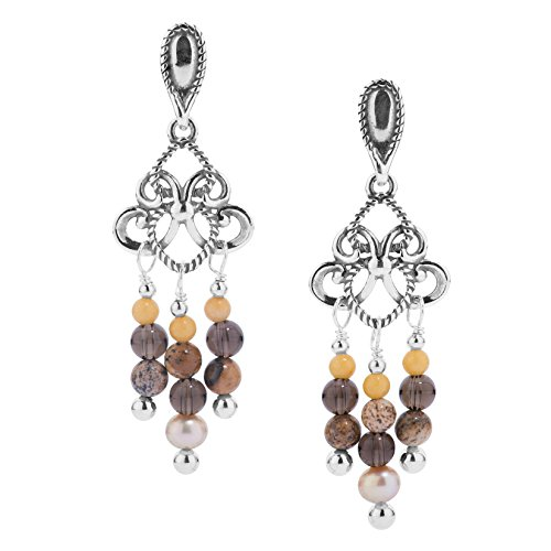 ling Silver & Shades of Brown Chandelier Earrings - Carolyn Pollack Collection ()
