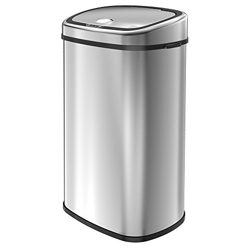 1homefurnit 68L Chrome Trash Can Silver Automatic Sensor Touchless Recycling Waste Bin Kitchen Bins