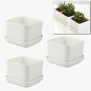 MyGift 3.5 Inch Ceramic Flower Planters / Succulent Plant Pots, White, Set  Of 3