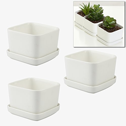 Three Square Planters - MyGift 3.5 Inch Ceramic Flower Planters/Succulent Plant Pots, White, Set of 3