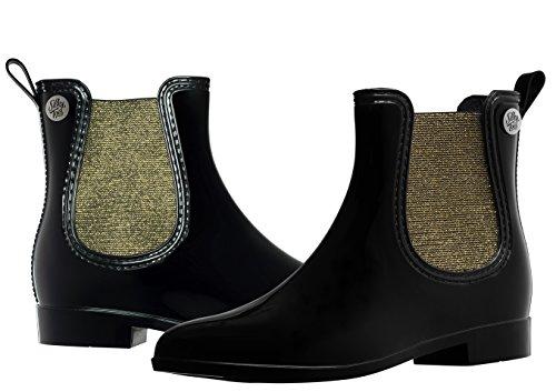 Silky Toes Women's Fashion Elastic Slip On Short Rain Boots (36, Black with Gold Metallic ()