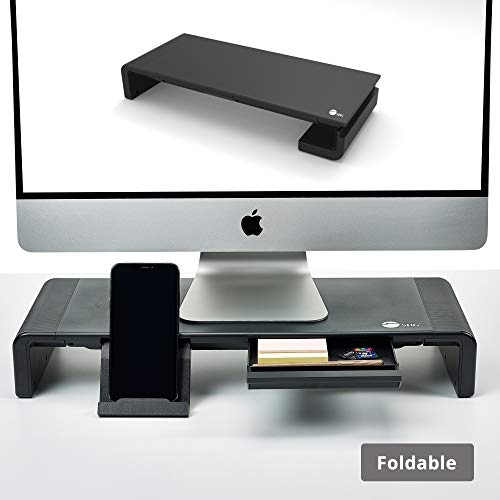 SIIG Foldable Desktop Laptop TV Monitor Stand Riser with Anti-slip Pads, Width Adjustable on Sides - Built In Phone and Tablet Stand - Supports up to 55LBS