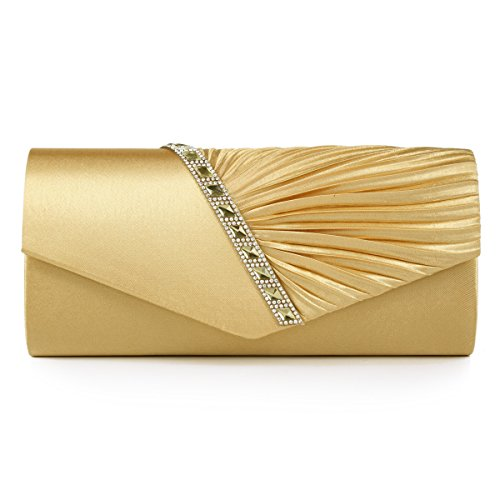Damara Womens Pleated Crystal-Studded Satin Handbag Evening Clutch,Gold