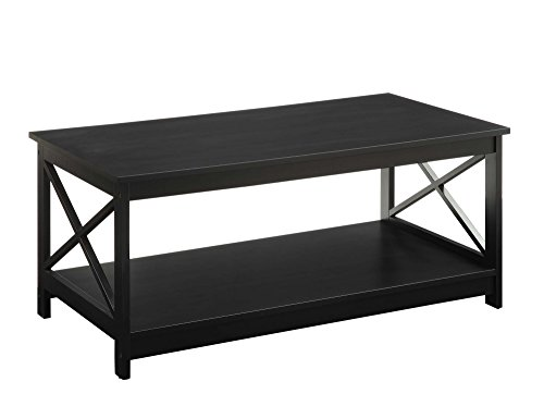 Convenience Concepts Oxford Coffee Table, Black Black Rustic Coffee Table