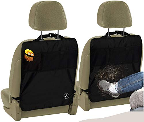 EcoNour Seat Back Protectors (2 Pack) - Car Kick Mats with 2 Mesh Pockets for Great Storage-Odor Free, Premium Waterproof Fabric, Reinforced Corners to Prevent Sag.