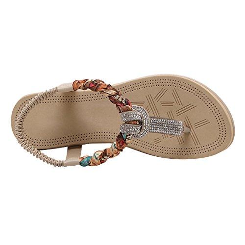 LUXINYU Women's Bohemian Platform Sandals Rhinestone Bead Wedge Shoes Thong Sandal Apricot US 7.5 by LUXINYU (Image #1)