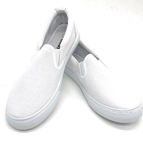 EASY21 Women Canvas Round Toe Slip on Flat Sneaker Oxford Boat Shoe,White61,Size 9 -