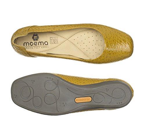 Moema Damen Manuela Leder Slip On Ballerina Shoes (400406) Senffarben