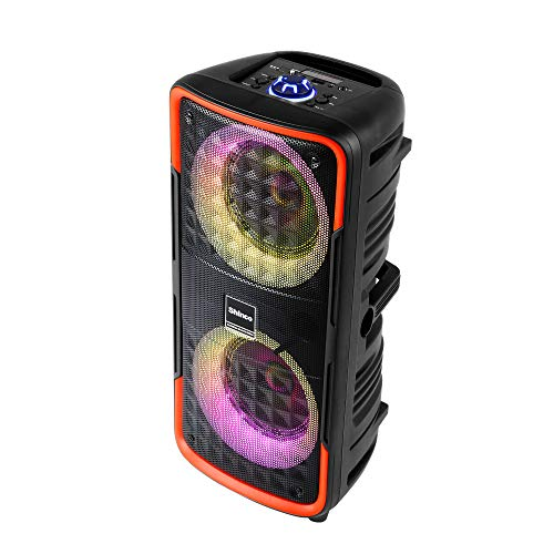 Shinco Bluetooth Speaker with Party Lights, Dual 6.5 inch Woofer, TWS Stereo Sound and Microphone