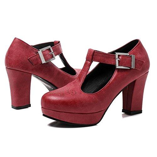 A Scarpe con TAOFFEN T Rosso Donna Strap Piattaforma Tacco Blocco qCpwS