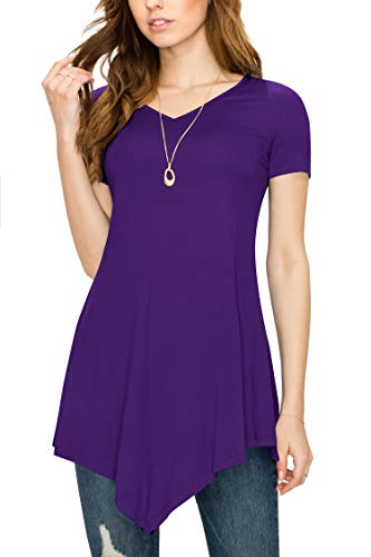 Made By Johnny MBJ WT638 Womens V Neck Asymmetrical Tunic Top L Dark_Purple