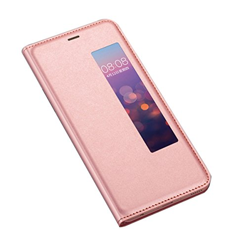 Price comparison product image Huawei P20 Pro case Huawei P20 case PU Leather Flip Wallet Case with View Window Closure Clear Full Body Protection Slim Leather Case (Rose Gold,  Huawei P20 Pro)