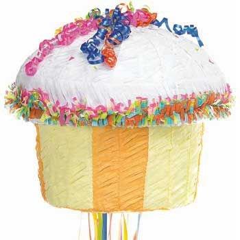 Multicolor Cupcake Pinata - Cupcake Pull String Pinata