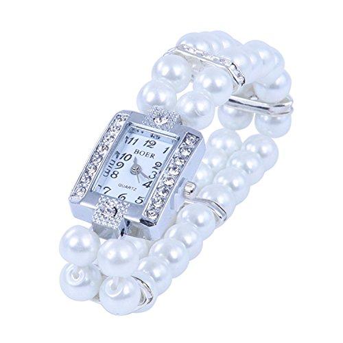 Crystal Stretch Bracelet Watch - SODIAL(R) Metal Pearl Crystal Bracelet Bangle Stretch Square Dial Wristwatch Wrist Watch
