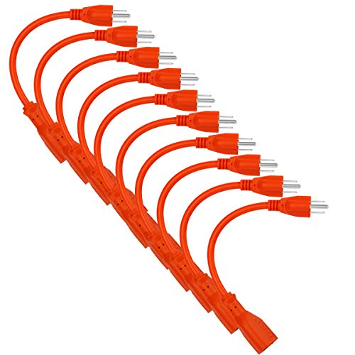 (10 Pack 1ft 16AWG 13A Power Extension Cord 3 Prong,Power Strip Outlet Saver,Nema5-15p To Nema 5-15R Power cord,Male Plug To Female Connector,UL Listed Power Extension Cable Yodotek (Orange))