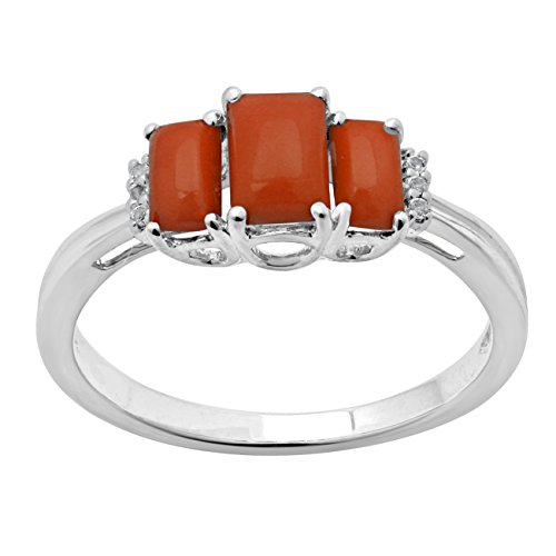 Jewelili femme  9 carats (375/1000)  Or blanc|#Gold Emeraude   Orange Andere Topas FASHIONRING