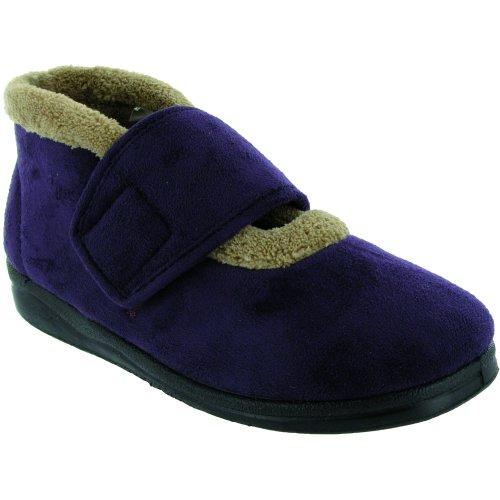Mirak Jeane Damen Klettverschluss Stiefelette Stiefel Hausschuhe Pantoffeln Lila