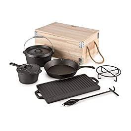 Klarstein Hotrod Masterplan Dutch Oven Set • 7-Piece Cookware Set• BBQ• Cast Iron for Cooking • Frying • Baking • Open…