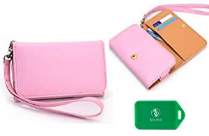 Samsung Galaxy Grand 2 Universal Ladies wristlet wallet in Pink Plus bonus Neviss luggage tag