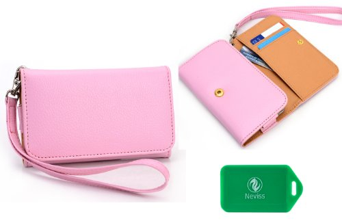 Verizon Samsung Legend No-Contract Smartphone-Universal Ladies wristlet wallet in PINK Plus bonus Neviss luggage tag (Contract Smartphone)