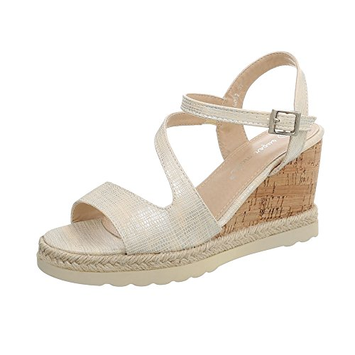 Women's Heel Ital 6082 Sandals Wedge Wegde Design Sandals at Beige wTqqI5