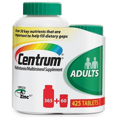 Centrum Multivitamin/multimineral Supplement a to Zinc 425 Tabs