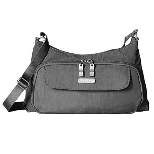 Baggallini Everyday Crinkle Shoulder Handbag Purse (Charcoal)