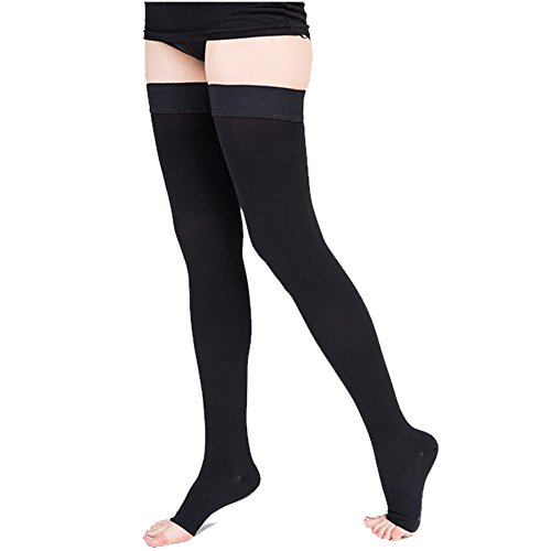 Thigh High Compression Socks (20-30mmHg), Men & Women Sleeves for Running.Best Open-Toe Stockings for Medical, Athletic, Edema, Varicose Veins, Pregnancy, Shin Splints, - Sock Beads