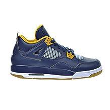 Air Jordan 4 Retro BG Big Kid's Shoes Midnight Navy/Metallic Gold/Gold Leaf/White 408452-425 (5 M US)
