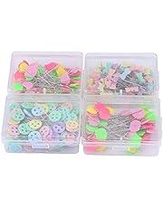 Paquete de 300 piezas de alfileres de cabeza flor u oso botón plano cabeza alfileres bricolaje herramienta de acolchado accesorios de costura(KIT-2)