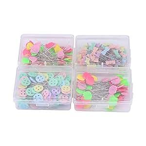 Paquete de 300 cabezales de alfileres de flores o oso, de cabeza plana para manualidades y accesorios de costura Kit-2