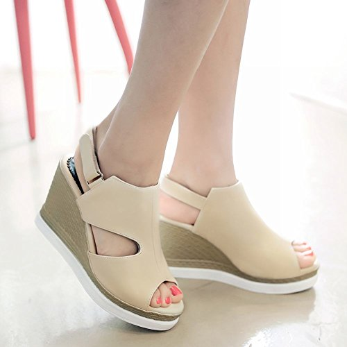 Carolbar Kvinna Slingback Hook-and-loop Peep Toe Mode Retro Plattform Kilar Sandaler Beige