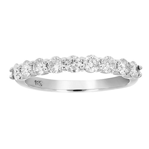 Prong Diamond Wedding Band (3/4 CT AGS Certified I1-I2 Diamond Wedding Band in 14K White Gold Size 7)