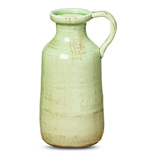 Beach Chic Pastel Glazed Pitcher Vase, Artisan Crafted, Distressed Pale Ocean Green, Celadon Crackled, Terracotta Undertones, Stoneware, 5 Diameter, 11 1/2 Tall Inches, Serenity Home Collection -