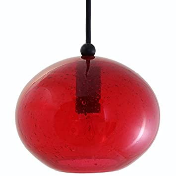 Direct-Lighting DPN-49289-RED Oval Shaped Seeded Glass Mini Pendant Light, Red Glass