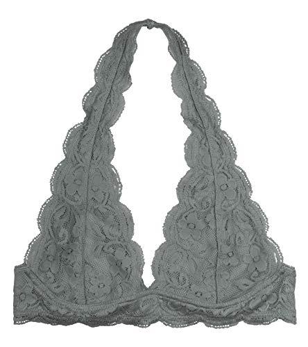 Wonder St Women's Lace Halter Bralette, Dark Gray, S/M ()
