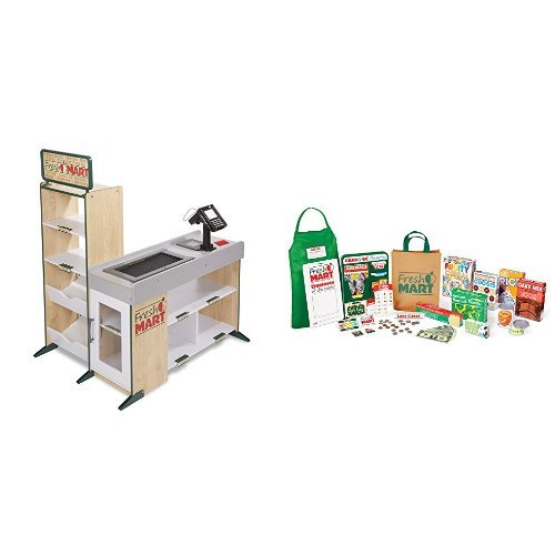 Melissa & Doug Pretend Play Fresh Mart Wooden Grocery Store With 70+ Accessories and Play Food