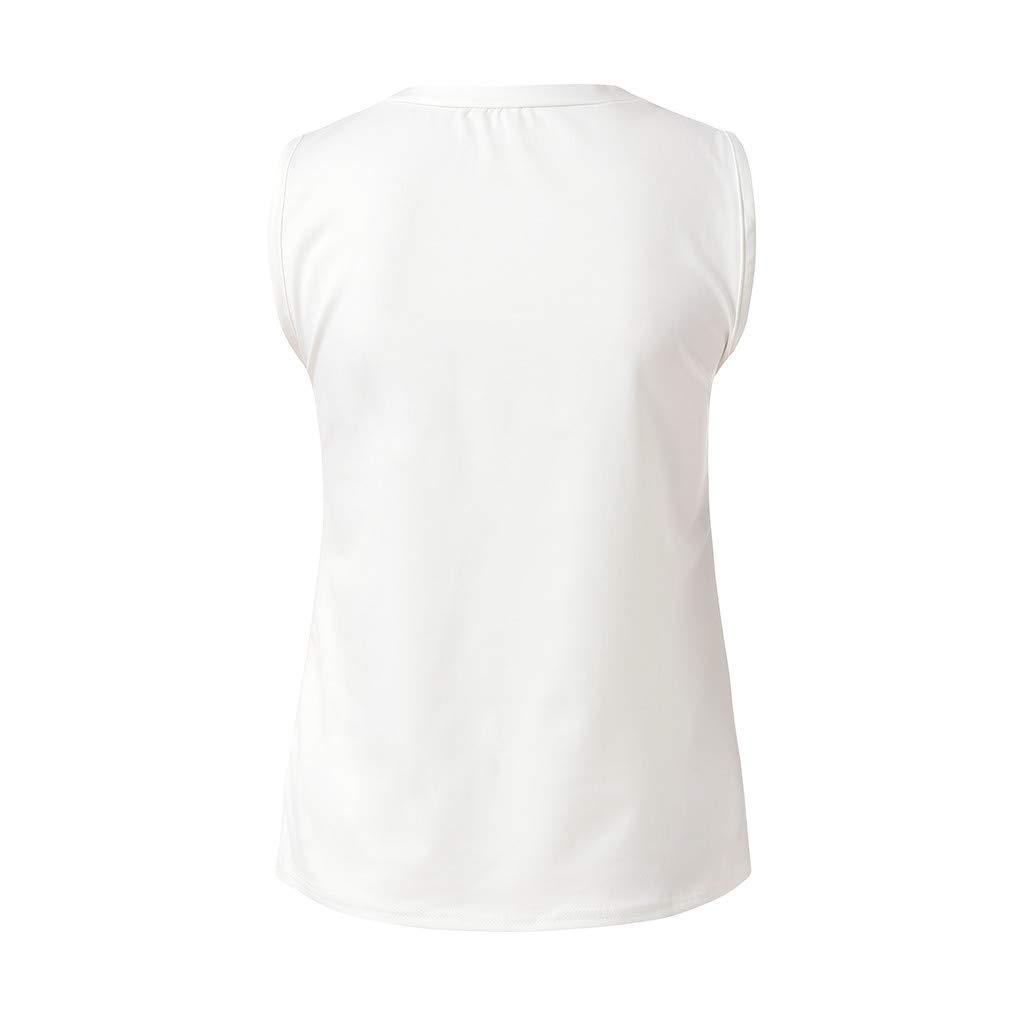 Women Sleeveless LetterPrint Shirt Casual Loose Tank Soft Comfortable Top