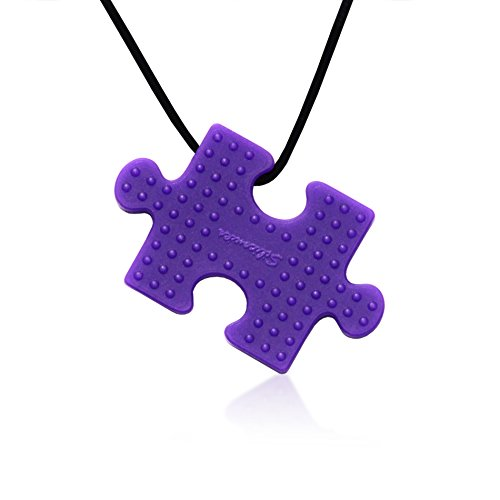 Puzzle Pendant Duo - Silicone Necklaces (Teething, Nursing, Sensory) (Fuchsia Pink/Plum Purple) by Siliconies (Image #4)