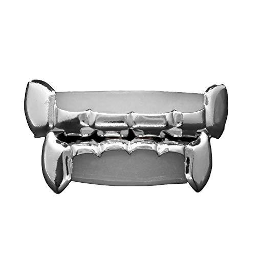 (AOVR New 14k Gold Plated Teeth Fangs Grillz Caps Top & Bottom Grill Zircon Set (Platinum Set))