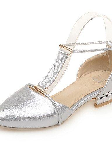 LFNLYX Zapatos de mujer-Tacón Bajo-Comfort / Puntiagudos-Sandalias-Boda / Vestido / Fiesta y Noche-Semicuero-Azul / Plata / Oro Blue
