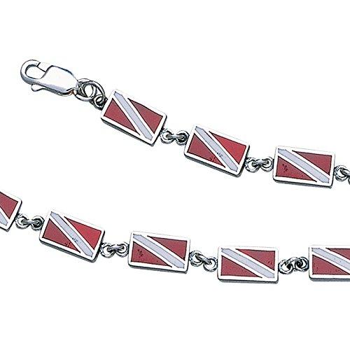 Dive Flag Sterling Silver Link Bracelet