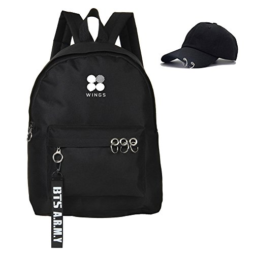 Bosunshine BTS Love Yourself V Suga Jin Jimin Jung Kook Casual Backpack Daypack Laptop Bag College Bag Book Bag School Bag with Hat Black2 (Laptop V Bag)