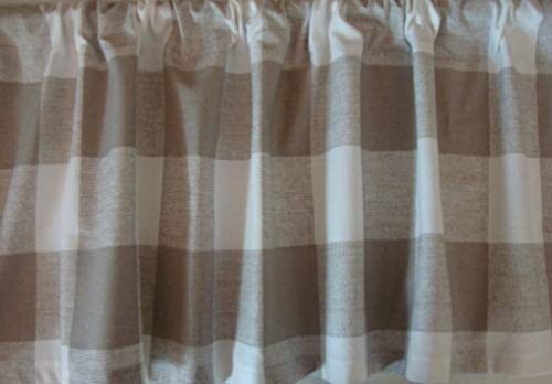 Lodge Rod Drapes Pocket (Valance Ecru Tan Natural Large Buffalo Check Custom Made Window Treatment)